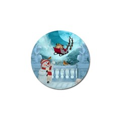 Christmas Design, Santa Claus With Reindeer In The Sky Golf Ball Marker by FantasyWorld7
