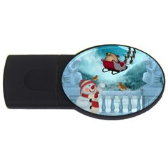 Christmas Design, Santa Claus With Reindeer In The Sky Usb Flash Drive Oval (2 Gb) by FantasyWorld7
