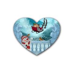Christmas Design, Santa Claus With Reindeer In The Sky Heart Coaster (4 Pack)  by FantasyWorld7