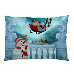 Christmas Design, Santa Claus With Reindeer In The Sky Pillow Case by FantasyWorld7