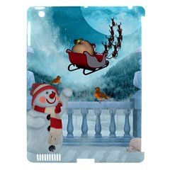 Christmas Design, Santa Claus With Reindeer In The Sky Apple Ipad 3/4 Hardshell Case (compatible With Smart Cover) by FantasyWorld7