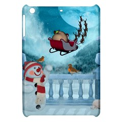 Christmas Design, Santa Claus With Reindeer In The Sky Apple Ipad Mini Hardshell Case by FantasyWorld7