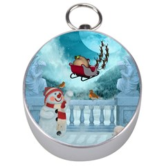 Christmas Design, Santa Claus With Reindeer In The Sky Silver Compasses by FantasyWorld7