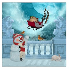 Christmas Design, Santa Claus With Reindeer In The Sky Large Satin Scarf (square) by FantasyWorld7