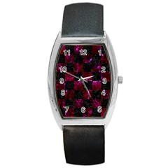 Square1 Black Marble & Burgundy Marble Barrel Style Metal Watch by trendistuff