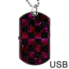 Square1 Black Marble & Burgundy Marble Dog Tag Usb Flash (one Side) by trendistuff