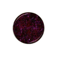 Damask2 Black Marble & Burgundy Marble Hat Clip Ball Marker by trendistuff