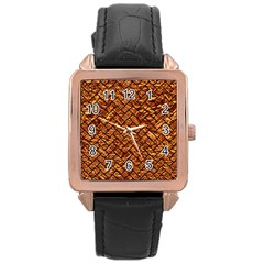 Brick2 Black Marble & Copper Foil (r) Rose Gold Leather Watch  by trendistuff