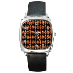 Diamond1 Black Marble & Copper Foilcopper Foil Square Metal Watch by trendistuff