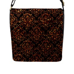 Damask1 Black Marble & Copper Foil Flap Messenger Bag (l)  by trendistuff