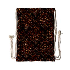Damask1 Black Marble & Copper Foil Drawstring Bag (small) by trendistuff