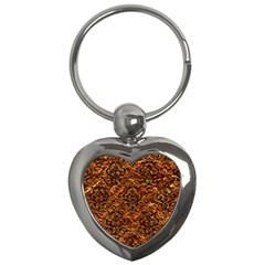 Damask1 Black Marble & Copper Foil (r) Key Chains (heart)  by trendistuff