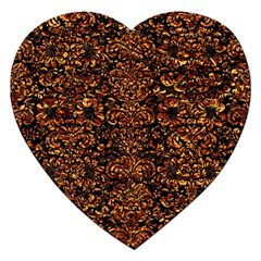 Damask2 Black Marble & Copper Foil Jigsaw Puzzle (heart) by trendistuff