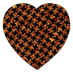 Houndstooth2 Black Marble & Copper Foil Jigsaw Puzzle (heart) by trendistuff