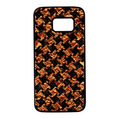 Houndstooth2 Black Marble & Copper Foil Samsung Galaxy S7 Black Seamless Case by trendistuff