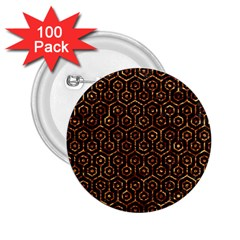 Hexagon1 Black Marble & Copper Foil 2 25  Buttons (100 Pack)  by trendistuff