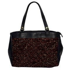 Hexagon1 Black Marble & Copper Foil Office Handbags by trendistuff
