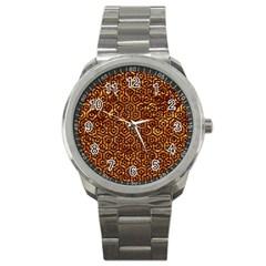 Hexagon1 Black Marble & Copper Foil (r)ble & Copper Foil (r) Sport Metal Watch by trendistuff