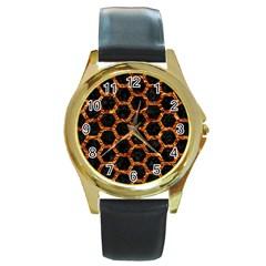 Hexagon2 Black Marble & Copper Foilmarble & Copper Foil Round Gold Metal Watch by trendistuff