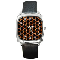 Hexagon2 Black Marble & Copper Foilmarble & Copper Foil Square Metal Watch by trendistuff