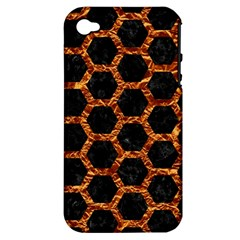 Hexagon2 Black Marble & Copper Foilmarble & Copper Foil Apple Iphone 4/4s Hardshell Case (pc+silicone) by trendistuff