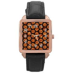 Hexagon2 Black Marble & Copper Foil (r) Rose Gold Leather Watch  by trendistuff