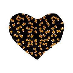 Candy Corn Standard 16  Premium Heart Shape Cushions by Valentinaart