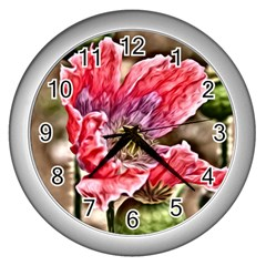 Dreamy Floral 5 Wall Clocks (silver)  by MoreColorsinLife