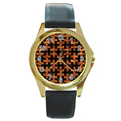 Puzzle1 Black Marble & Copper Foil Round Gold Metal Watch by trendistuff