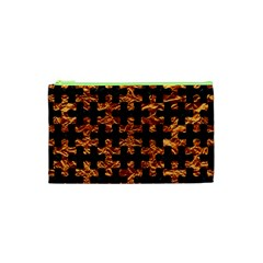 Puzzle1 Black Marble & Copper Foil Cosmetic Bag (xs) by trendistuff