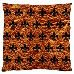 Royal1 Black Marble & Copper Foil Large Flano Cushion Case (one Side) by trendistuff