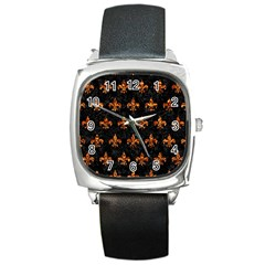 Royal1 Black Marble & Copper Foil (r) Square Metal Watch by trendistuff