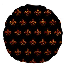 Royal1 Black Marble & Copper Foil (r) Large 18  Premium Flano Round Cushions by trendistuff