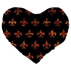 Royal1 Black Marble & Copper Foil (r) Large 19  Premium Flano Heart Shape Cushions by trendistuff