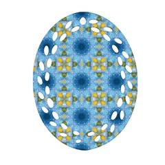 Blue Nice Daisy Flower Ang Yellow Squares Oval Filigree Ornament (two Sides) by MaryIllustrations