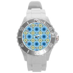 Blue Nice Daisy Flower Ang Yellow Squares Round Plastic Sport Watch (l) by MaryIllustrations