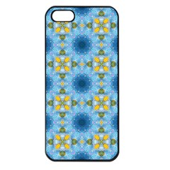 Blue Nice Daisy Flower Ang Yellow Squares Apple Iphone 5 Seamless Case (black) by MaryIllustrations