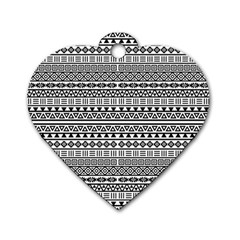 Aztec Influence Pattern Dog Tag Heart (one Side) by ValentinaDesign