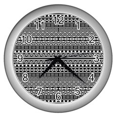 Aztec Influence Pattern Wall Clocks (silver)  by ValentinaDesign