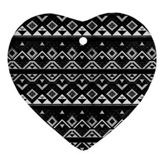 Aztec Influence Pattern Heart Ornament (two Sides) by ValentinaDesign
