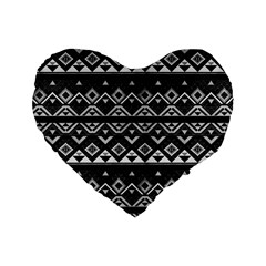 Aztec Influence Pattern Standard 16  Premium Heart Shape Cushions by ValentinaDesign