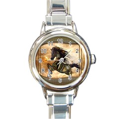 Steampunk, Wonderful Steampunk Horse With Clocks And Gears, Golden Design Round Italian Charm Watch by FantasyWorld7
