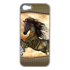 Steampunk, Wonderful Steampunk Horse With Clocks And Gears, Golden Design Apple Iphone 5 Case (silver) by FantasyWorld7