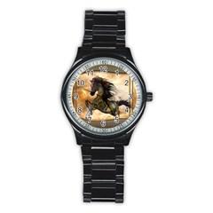 Steampunk, Wonderful Steampunk Horse With Clocks And Gears, Golden Design Stainless Steel Round Watch by FantasyWorld7