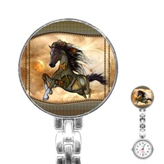Steampunk, Wonderful Steampunk Horse With Clocks And Gears, Golden Design Stainless Steel Nurses Watch by FantasyWorld7