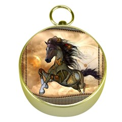 Steampunk, Wonderful Steampunk Horse With Clocks And Gears, Golden Design Gold Compasses by FantasyWorld7
