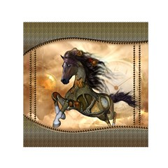 Steampunk, Wonderful Steampunk Horse With Clocks And Gears, Golden Design Small Satin Scarf (square)  by FantasyWorld7