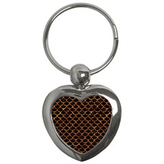 Scales1 Black Marble & Copper Foil Key Chains (heart)  by trendistuff