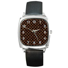 Scales1 Black Marble & Copper Foil Square Metal Watch by trendistuff