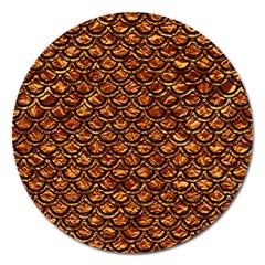 Scales2 Black Marble & Copper Foil (r) Magnet 5  (round) by trendistuff